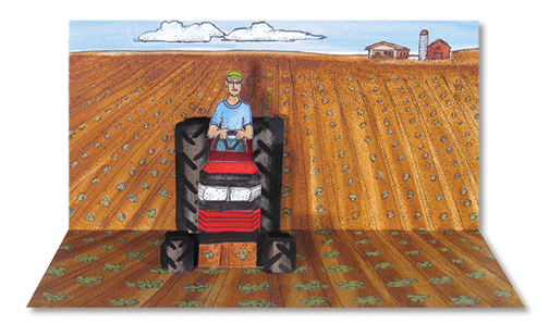 Pop-Up Tractor Illustration