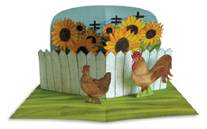 Chickens and Sunflowers Illustration, The Pocket Paper Engineer, Volume 3